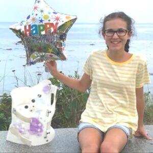 Annabelle with Rigo Cheneau Brace and Birthday Balloon
